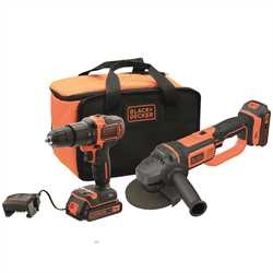 Black And Decker - 18V Hammer Drill and 18V Small Angle Grinder with 2x 2Ah Batteries 1x 1Ah Cup Charger and Softbag - BCK24D2S
