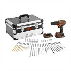 Black And Decker - 18V Hammer Drill with 2 Batteries and 80 Accessories in Flight case - BDC718AS2F