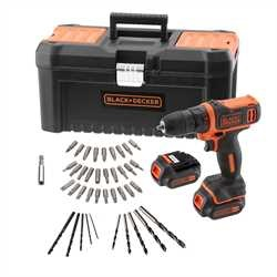 Black And Decker - 108V Lithium Ion Drill Driver with additional battery fast charger 40 Accessories in Toolbox - BDCDD121BKA
