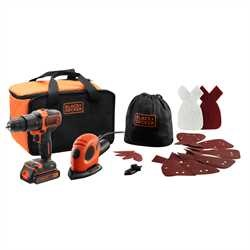 Black And Decker - 18V Hammer Drill and 55W Mouse Detail Sander  Accessories and Storage bag - BDK200AS1S