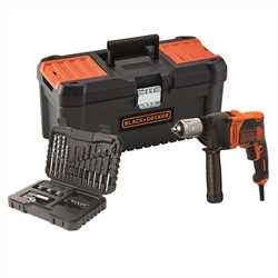 Black And Decker - 850W 1 Gear Hammer Drill and 32 Accessories with 16 Toolbox - BEH850KA32