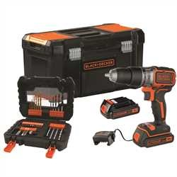 Black And Decker - 18V Lithiumion Brushless 2 Gear Hammer Drill  with 2 batteries and 31 accessories in 19 Toolbox - BL188D2KA31